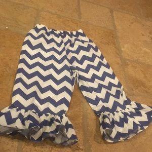 Bella Nova Ruffle Chevron Pants Blue 7